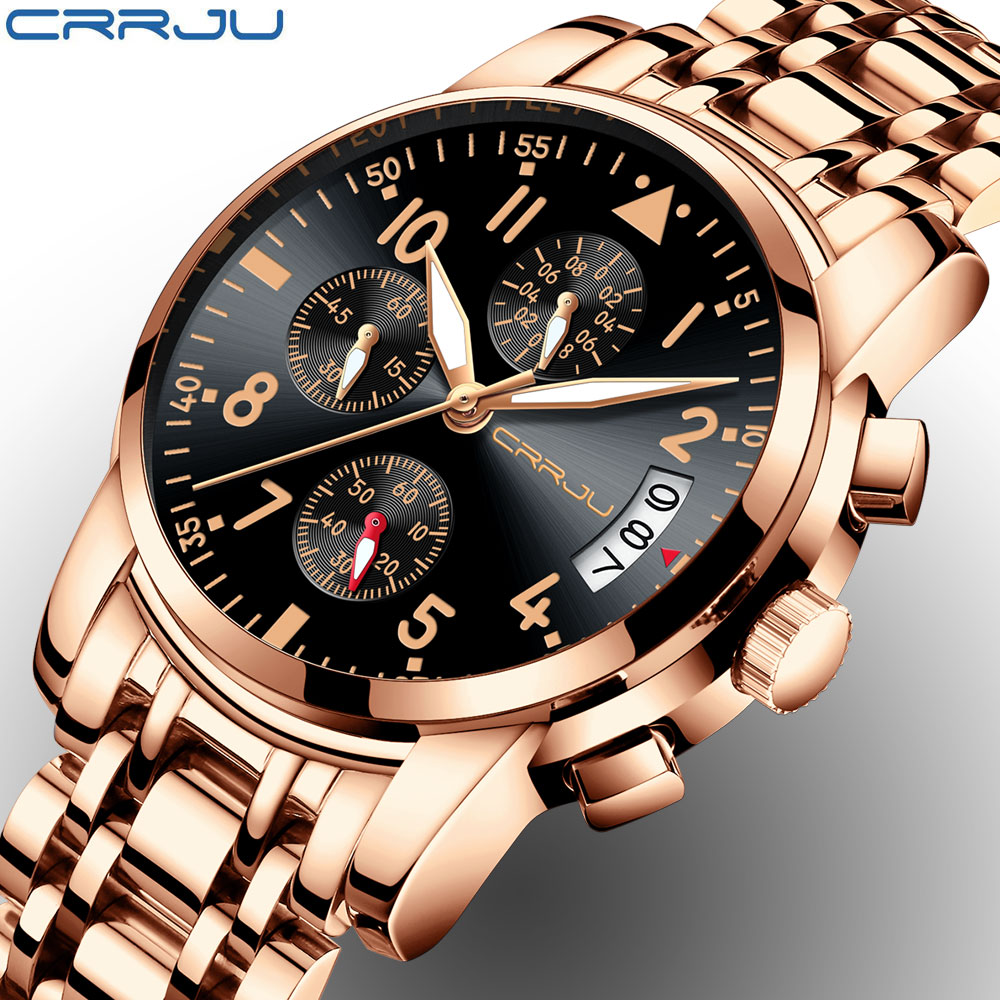 Rose gold Watches Brand Luxury Chronograph Fashion Quartz Watch Men Full Steel Waterproof Sport Watch Clock Relogio MasculinoRose gold Watches Brand Luxury Chronograph Fashion Quartz Watch Men Full Steel Waterproof Sport Watch Clock Relogio Masculino