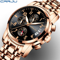 Rose gold Watches Brand Luxury Chronograph Fashion Quartz Watch Men Full Steel Waterproof Sport Watch Clock Relogio Masculino