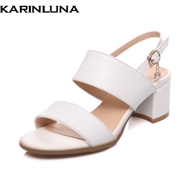 Karinluna كبير الحجم 33-43 جلد البقر الصنادل - أحذية المرأة