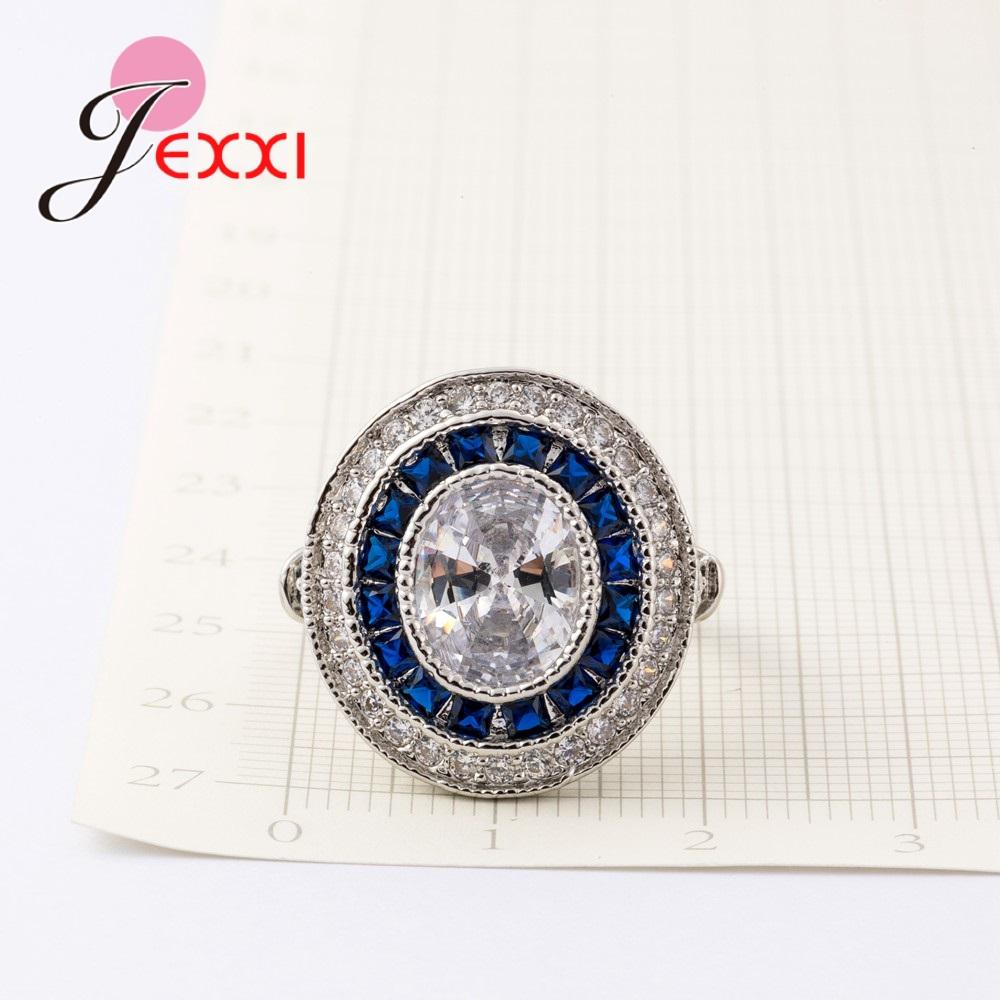 JEXXI Top Quality 925 Sterling Silver Rings Jewelry Paved 5A Clear Crystals For Women Wedding Party Accessories Promise Rings