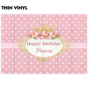 Image 2 - Allenjoy photography backdrops crown princess pink birthday party flower frame background new photocall photobooth