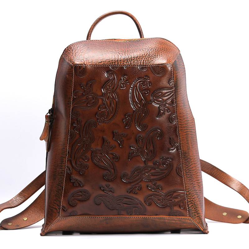 ФОТО vintage printing Backpacks for woman school bag mochila laptop cowhide leather Satchels Sac designer embossing brown bag 2017