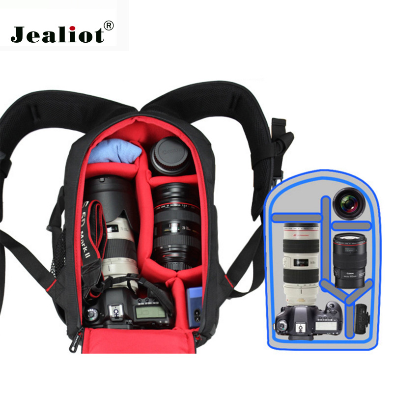2017 Jealiot Professional Camera Bag Backpack Multifunctional waterproof shockproof Video Photo digital Bags case for Canon DSLR sinpaid anti theft digital dslr photo padded camera backpack with rain cover waterproof laptop 15 6 soft bag video case 50