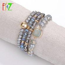 Fj4z винтажный квадратный женский и мужской браслет из искусственной