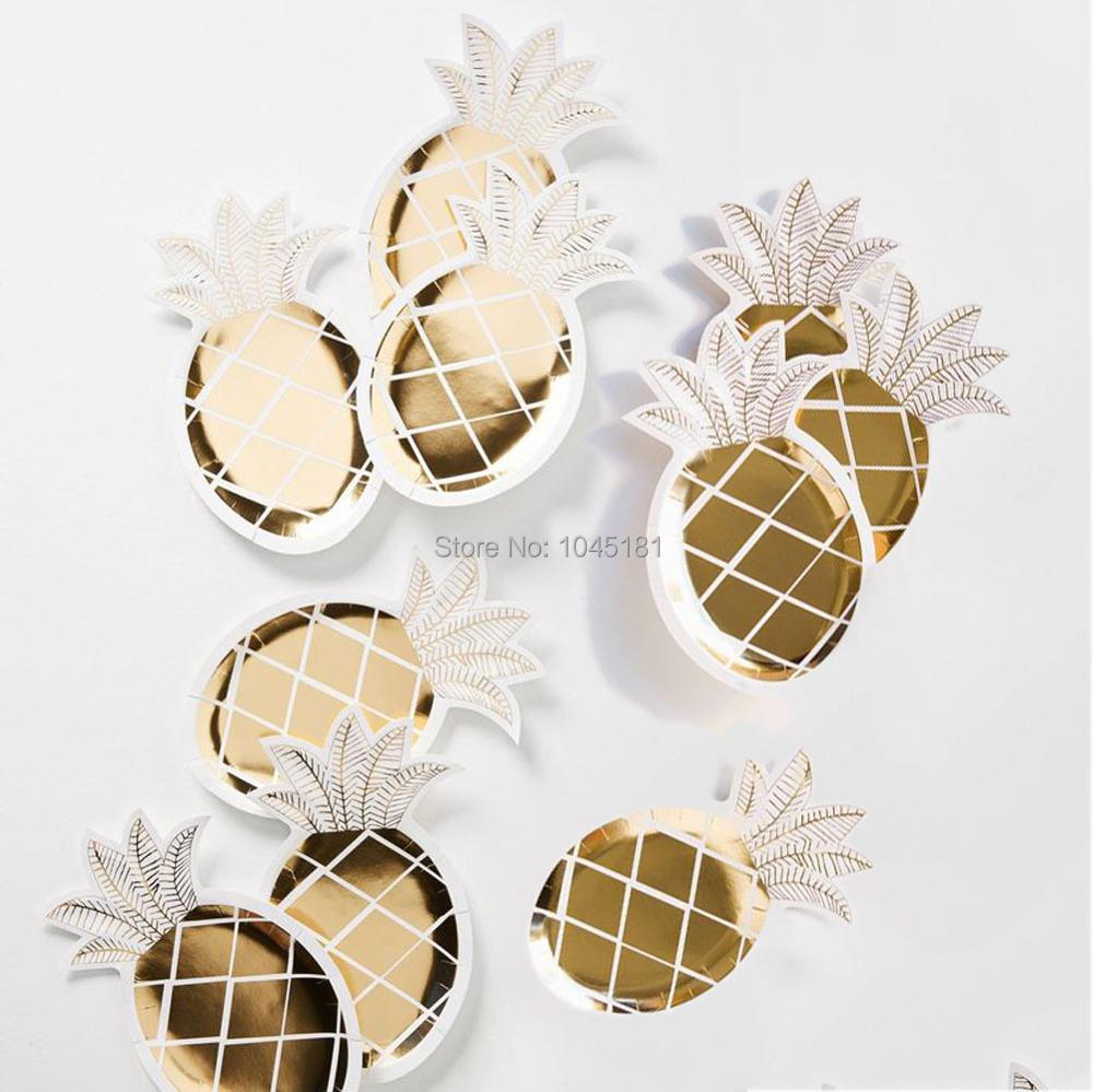 ipalmay Gold Pineapple Party Paper Plates Disposable Dinnerware Golden Bachelorette Party Decorations Fruit 1st Birthday Party