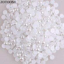 Zotoone volta plana resina branco meia pérola strass applique strass cola em strass pedras da arte do prego para a decoração de roupas e