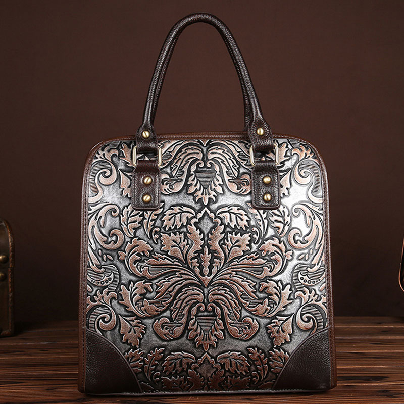 BULLCAPTAIN New Famous Brand Ladies Handbags Genuine Leather Women Bag Casual Tote Floral Print Shoulder Bags Large Tote Bag bullcaptain high quality genuine leather vintage women messenger shoulder bag ladies floral cross body bags brand mini tote