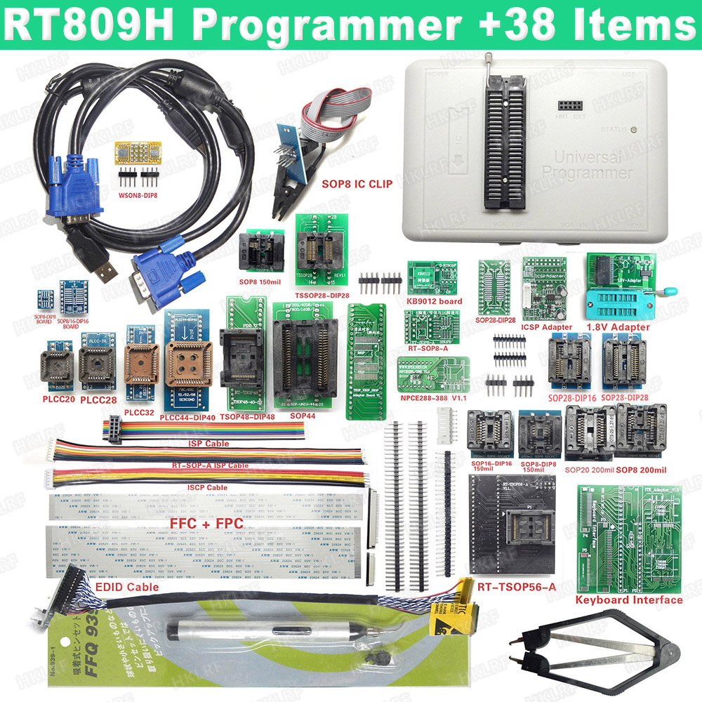 Image 5 - 2019 Newest RT809H Universal Programmer Emmc Nand Programmer + 44 Items ISP Adapter TSOP48 TSOP56 IC Test Clip EDID Read Line-in Integrated Circuits from Electronic Components & Supplies