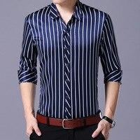 Для мужчин с длинным рукавом атласная рубашка мужской в полоску шелк Высокое качество Тонкий Мужская классическая рубашка Homme Slim Fit Бизнес П