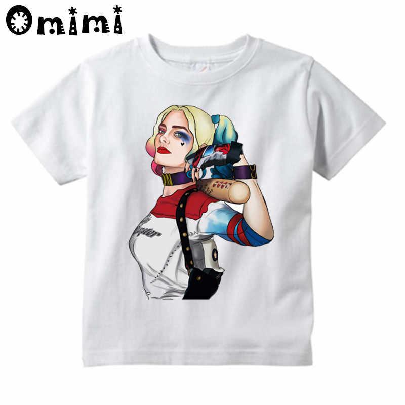Крутые футболки с героями отряда самоубийц Харли Куинн и Джокер для детей, летние топы для мальчиков и девочек, белые футболки одежда для детей