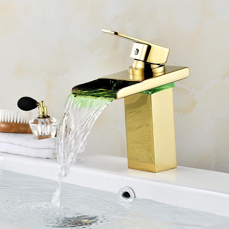 Bathroom Waterfall Faucet LED Faucet. Gold Waterfall Brass Basin Faucet. Bathroom Mixer Tap Deck Mounted Basin Sink Mixer Tap fapully bathroom waterfall basin faucet deck mounted automatic hands touch sensor water faucet waterfall sink tap
