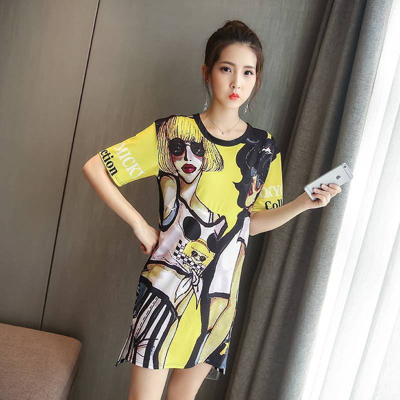 New maternity summer short-sleeved nursing dress Korean loose cartoon printing long T-shirt