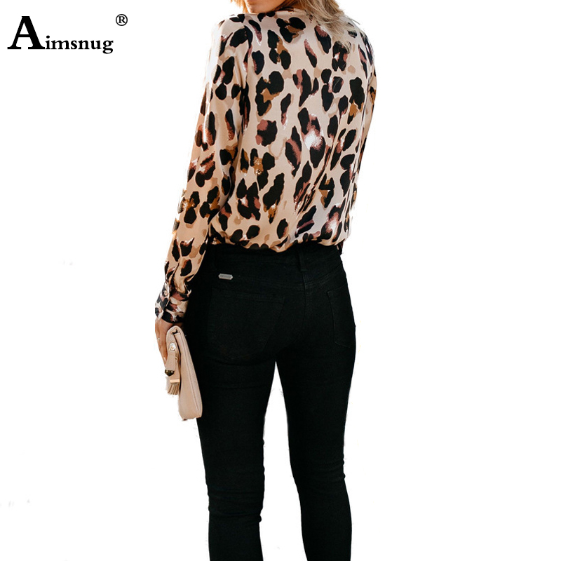 Plus Size S-3xl Print Leopard Khaki Tops V-neck Long Sleeve Loose Lace-up Female Blouse 2019 New Casual Women Pullover Shirt