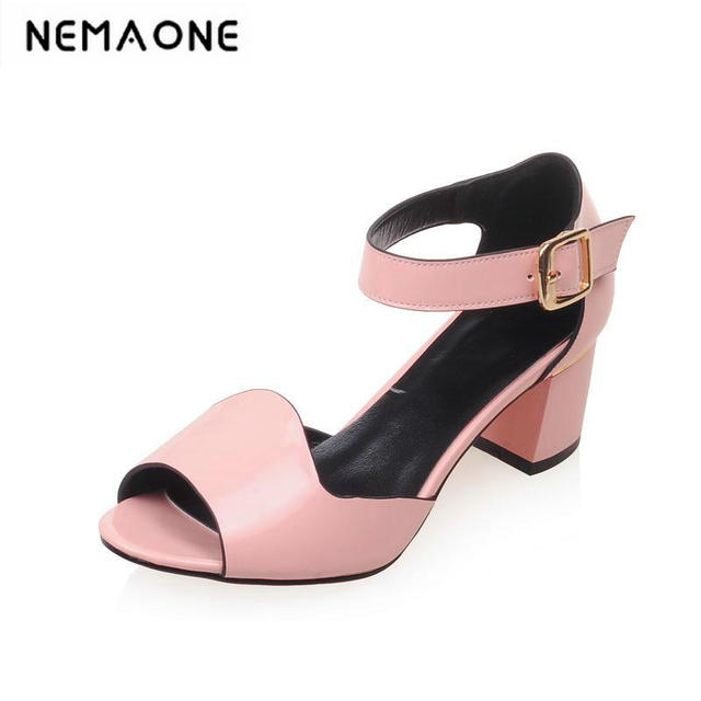 b350b230055 2018 Sexy Thick Square Heels Open Toe Summer Sandals Shoes For Female  Girl s Summer Party Soft Wear Big size 34-43