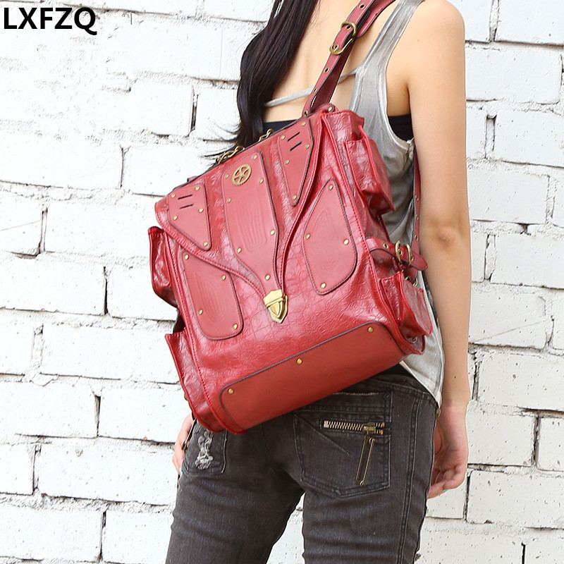 mochilas mujer 2018 youth Gothic Steampunk backpack in retro rock women backpack men's backpack Rock Steam punk bag
