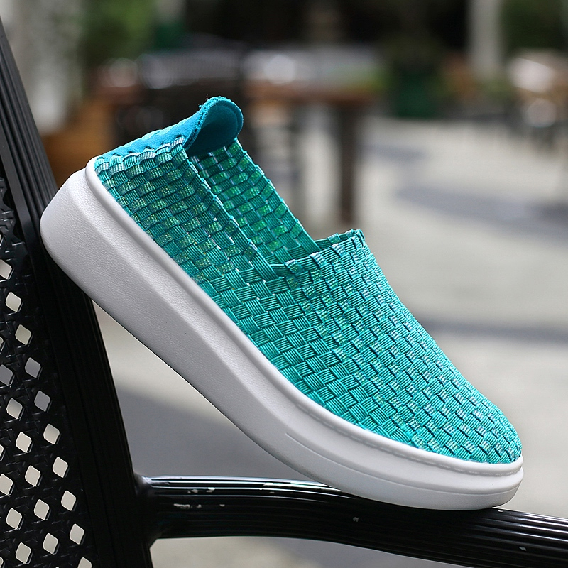 2018 Summer New Style Braid Shoes For Woman Comfortable Walking Shoes Breathable Slip On Weave Flats