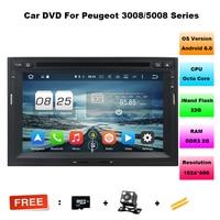 ROM 32 GB 1024x600 Octa-core Android 6.0 Auto DVD Player Fit Peugeot 3008 5008 Citroen Berlingo 2010-2016 GPS Navigation 4G Radio