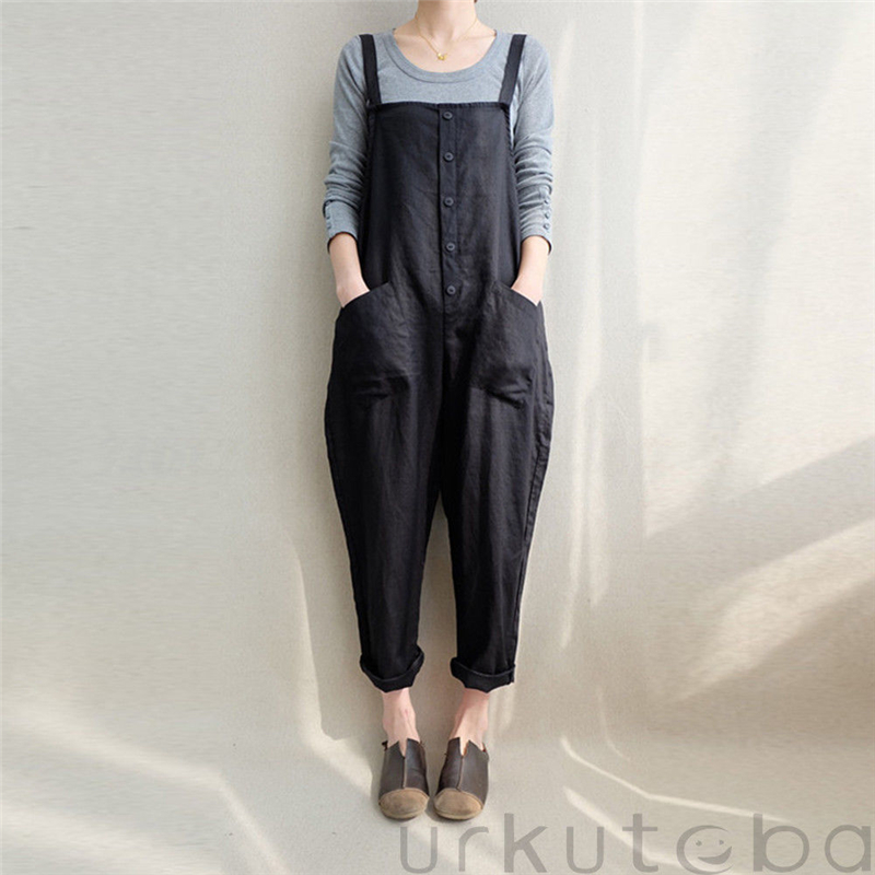 Womens Casual Loose Linen   Jumpsuit   Sleeveless Button Style Wide Leg Autumn Spring Female Street Wear Trousers Overalls
