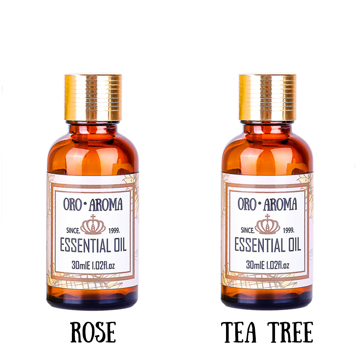 Famous brand oroaroma Whitening and freckle removing sets Rose essential oil+Tea tree essential oil body Massage Oil spa 30ml*2 tea tree essential oil australian tea tree oil acne oil control whitening anti inflammatory oil10ml acne scar removing essential