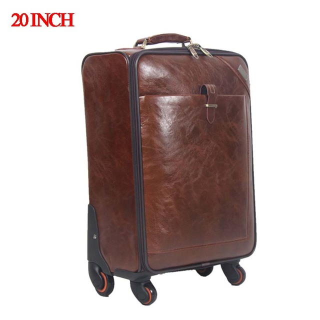 20 INCH Coffee Leather Trolley Luggage Business Trolley Case Men's Suitcase Travel Luggage Bag Rolling baggage Shipping by EMS