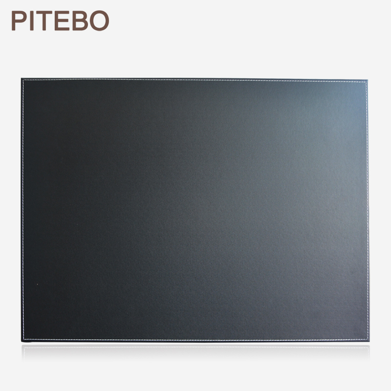 PITEBO Leather Office Desk File Paper Clip Drawing & Writing Board Writting Pad Tablet Black