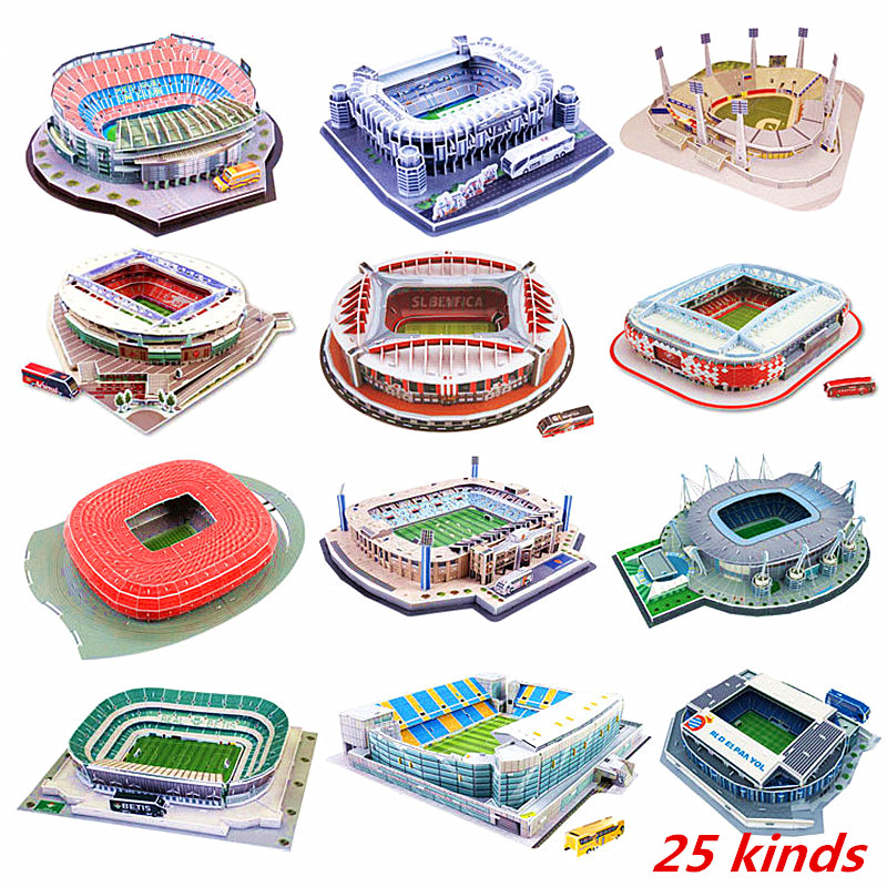 2018 New Football Stadium 3D Puzzle Mexican Spain Playground World Architecture Model Assembled Building Toys For Children