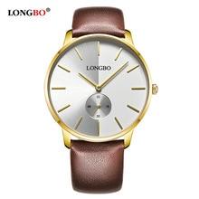 Longbo Часы Для мужчин Роскошные Модные Кожаный ремешок пару Часы Брендовые спортивные аналоговые наручные часы Dropshipping всего 80286