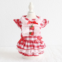 grid-bow-strawberry-red-pet-dog-clothes-summer-dress-dog-vest-cat-dog-dress-floral-pet-dress-clothing-puppy-chihuahua