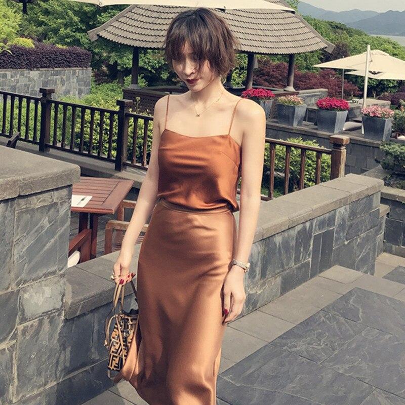2019 Spring And Summer New Silk Oblique Cut Sling Shirt + Satin Fishtail Hem Women Midi Skirt Ladies Long Skirts Setuit