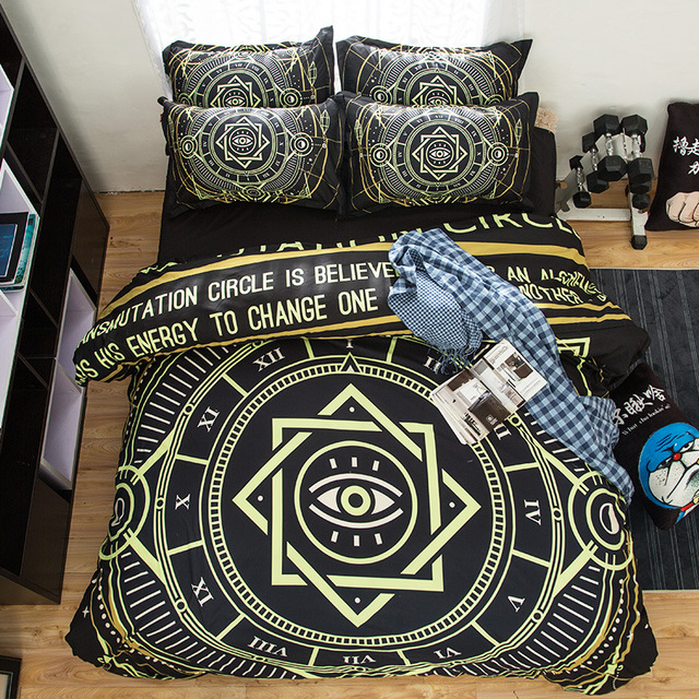 Free shipping Xmas holiday gift Magic circle pattern bedding set Quilt duvet Cover+2 pillow case for twin full queen king