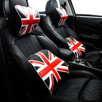 Union Jack Styling Car Seat Waist Support Cushion PU Leather Auto Neck Pillow Rest Headrest Pad Universal for BMW Mini Cooper