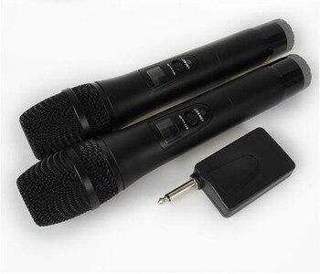 2 Karaoke Wireless Microphone 1receiver MIC mikrofon KTV Karaoke player Echo System Digital Sound Audio Mixer Singing Machine E8 k2 wireless mini family home karaoke echo system handheld singing machine box microphone karaoke player