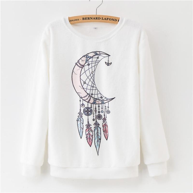 Women Hoodies 2018 Autumn Winter Sweatshirts Cartoon Kawaii Pink Unicorn Print Fleece Loose Moletom Feminino Harajuku Pullover