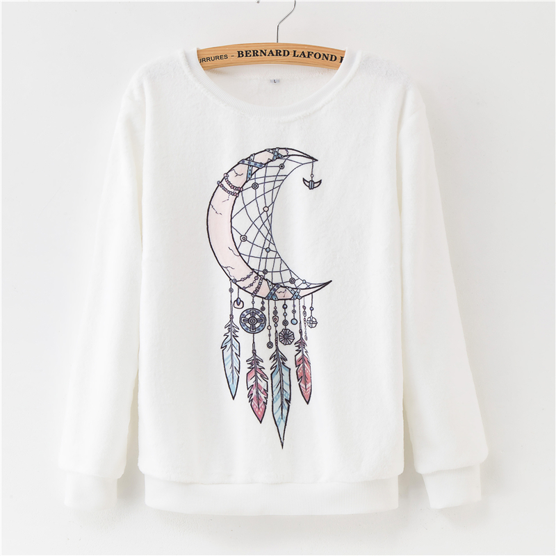 Women Hoodies 2018 Autumn Winter Sweatshirts Cartoon Kawaii Pink Unicorn Print Fleece Loose Moletom Feminino Harajuku Pullover