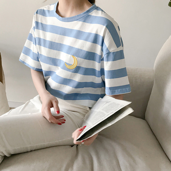 2019 Nieuwe Zomer Kleine Verse Snoep Kleur Streep Korte Mouw T-shirt Vrouwen Koreaanse Leuke Borduren Tshirt