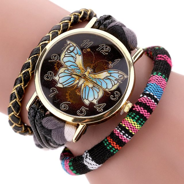2017 Duoya Retro Leather Women Watch Fashion Weave Trendy Butterfly Dial Gold Lu