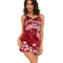 New Merry Christmas Mini Sexy Dresses Women Red Sequins Christmas party Vest Dresses Cosplays Corset Tank girl Free size
