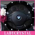 Ladycrystal 38CM Soft Wool Plush Car Steering Wheel Cover Diamond Crystal Car Steering Wheel Covers For Women Girls Ladies