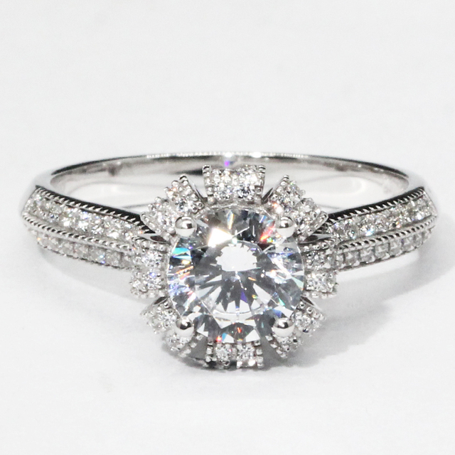 14K 585 White Gold 1CT Lab Grown Diamond Wedding Ring
