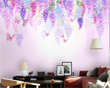 beibehang Custom personalized wall paper Beautiful wisteria flower Butterfly art Hand painted watercolor TV background wallpaper