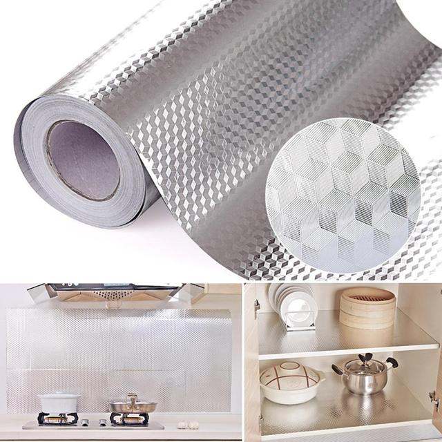 Aluminum Foil Kitchen Stickers Maison Decoration Sticker Self Adhesive Waterproof wall paper For Furniture 16″ x 39.5″