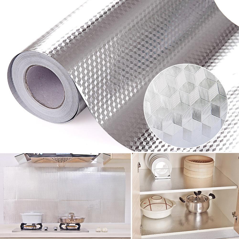 Papier d'aluminium cuisine autocollants Maison décoration autocollant auto-adhésif étanche à l'huile papier peint étanche pour meubles 16 x 39.5