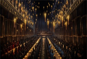 Image 5 - جديد هاري هوجوورتس قاعة الطعام الشموع الكنيسة مخصص استوديو الصور خلفية راية الفينيل 220x150cm