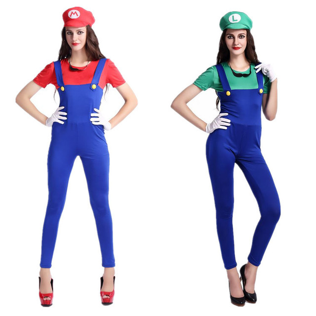 erwachsene super mario kost me frauen luigi kleidung sexy klempner kost m halloween super mario. Black Bedroom Furniture Sets. Home Design Ideas