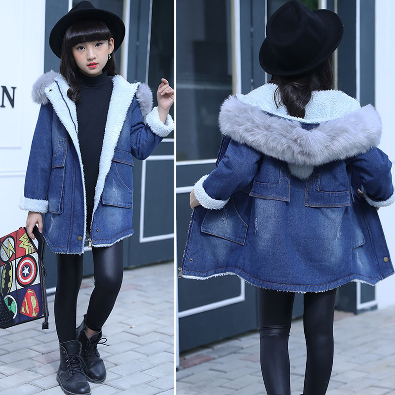 Children Denim Jacket For Girls Fur Collar Hooded Warm Lambswool Outerwear 2018 Winter Girls Clothes Coat