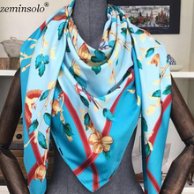 130*130cm Luxury Brand Scarves Stoles Bandana Floral Print Silk Scarf For Women Headband Large Square Wraps Twill Shawl