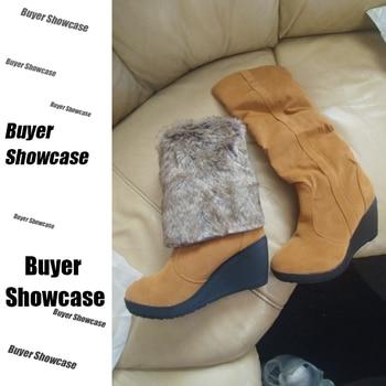 High Wedge Boots | DoraTasia 34-43 Winter 3 Styles Fur Boots Ladies High Heels Platform Knee High Snow Boots Women 2019 Warm Fur Wedge Shoes Woman