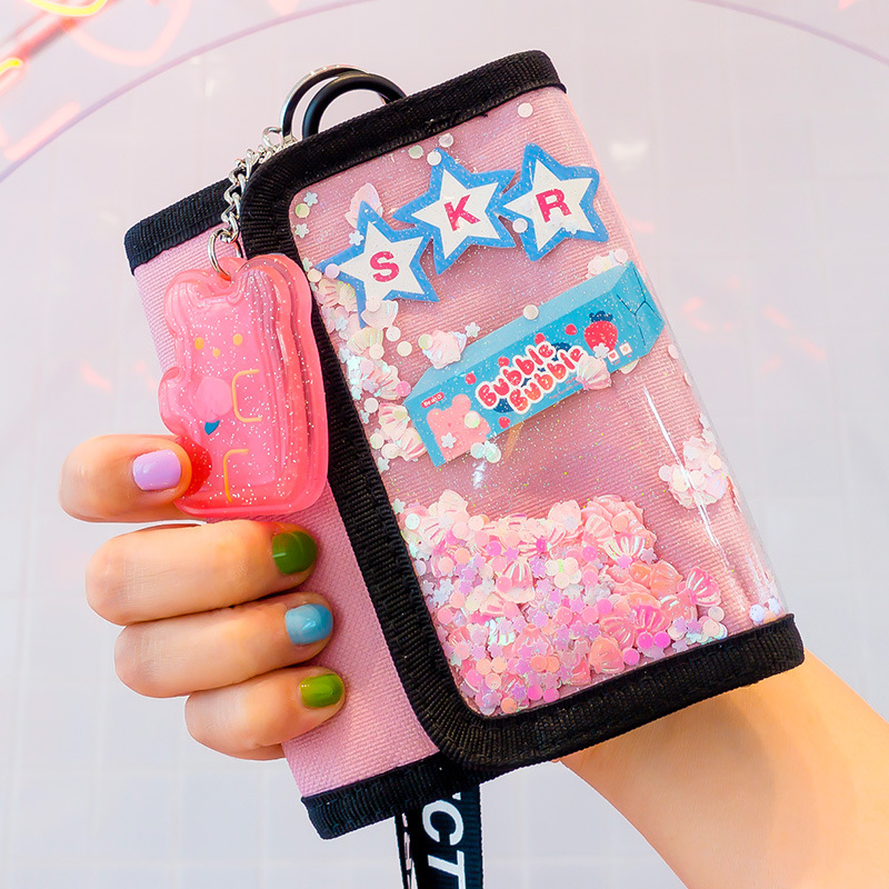 Bentoy Fold Short Wallet Girl Hologram Money Purse Women Day Clutch Cute Girl Clutch Coin Purse Handbag Card Holder