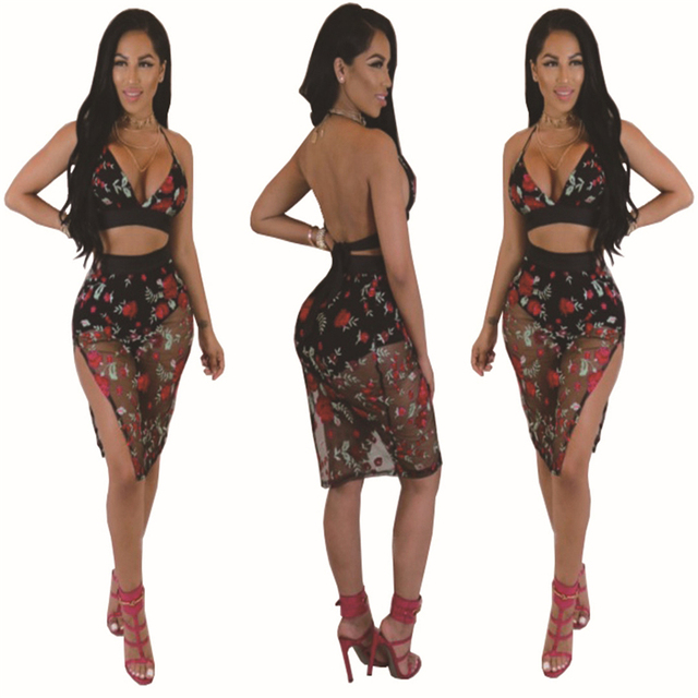 2017 Brand Summer Women Suits 2 Two Piece Crop Top and Skirt Set Black Bandage Bodycon Slim Midi Pencil Skirt Suits