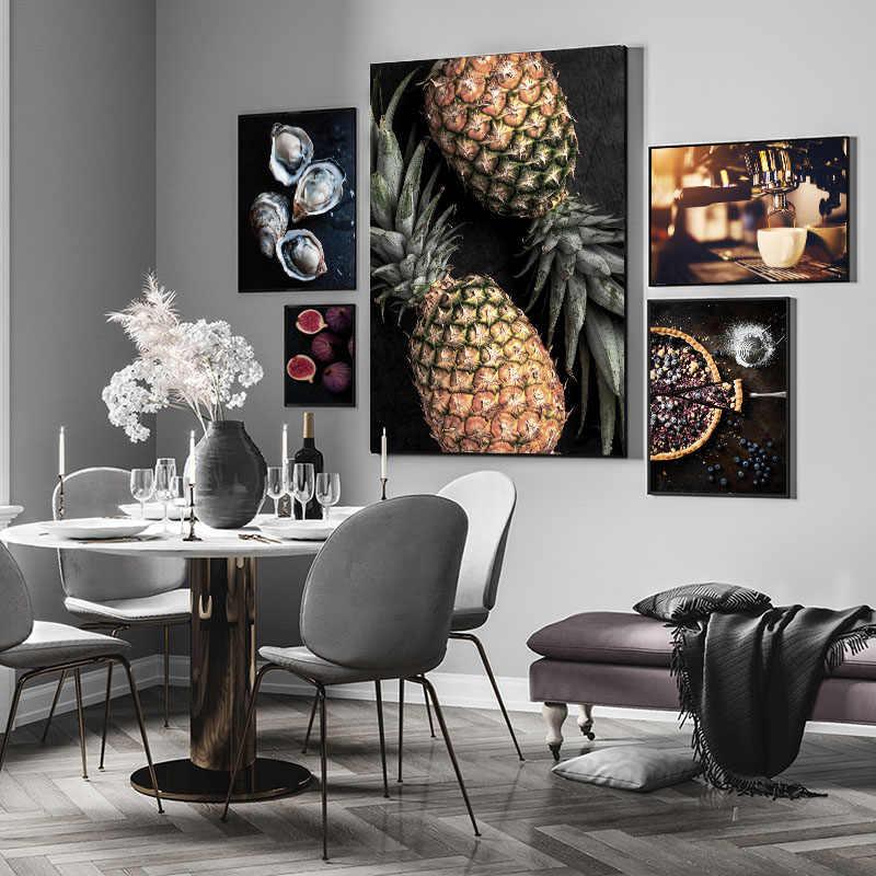 음식 주방 포스터 벽 아트 캔버스 인쇄 블루 베리 파이 무화과 커피 그림 장식 그림 현대 식당 장식
